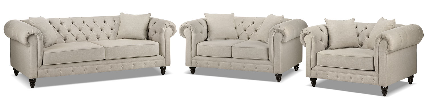 Nubia Sofa, Loveseat and Chair and a Half Set - Stone