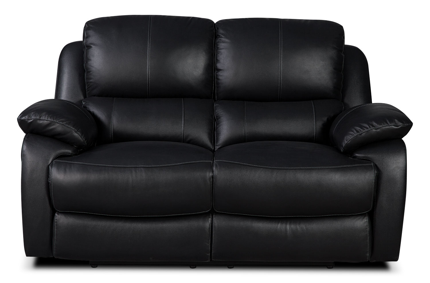 Living Room Furniture - Cairo Genuine Leather Reclining Loveseat – Black