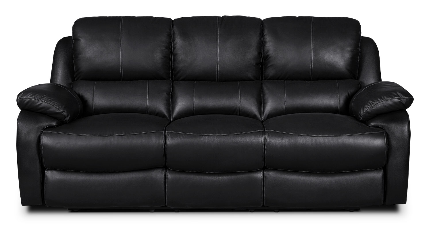 Living Room Furniture - Cairo Genuine Leather Power Reclining Sofa – Black