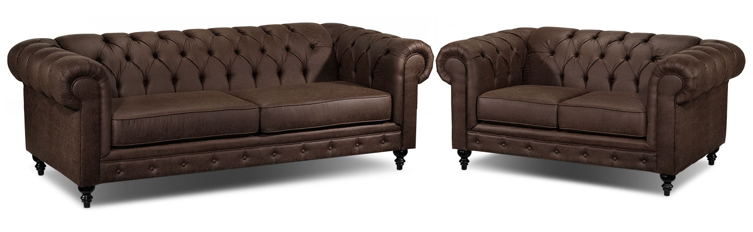 Chapman Sofa and Loveseat Set - Brown