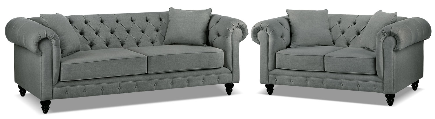 Nubia Sofa and Loveseat Set - Sterling