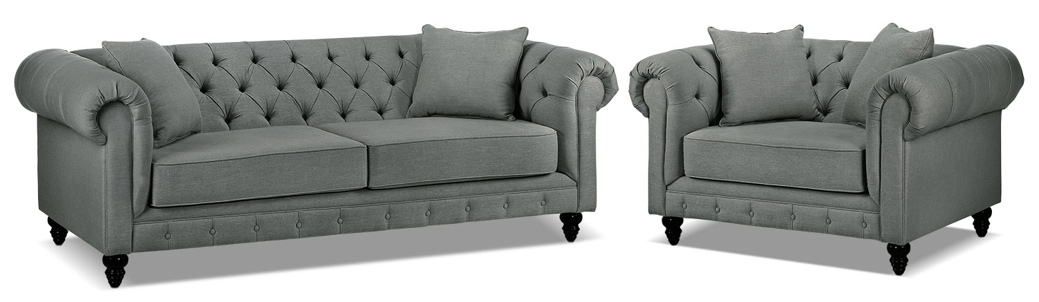 Nubia Sofa and Chair and a Half Set - Sterling