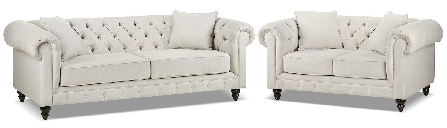 Nubia Sofa and Loveseat Set - Pearl
