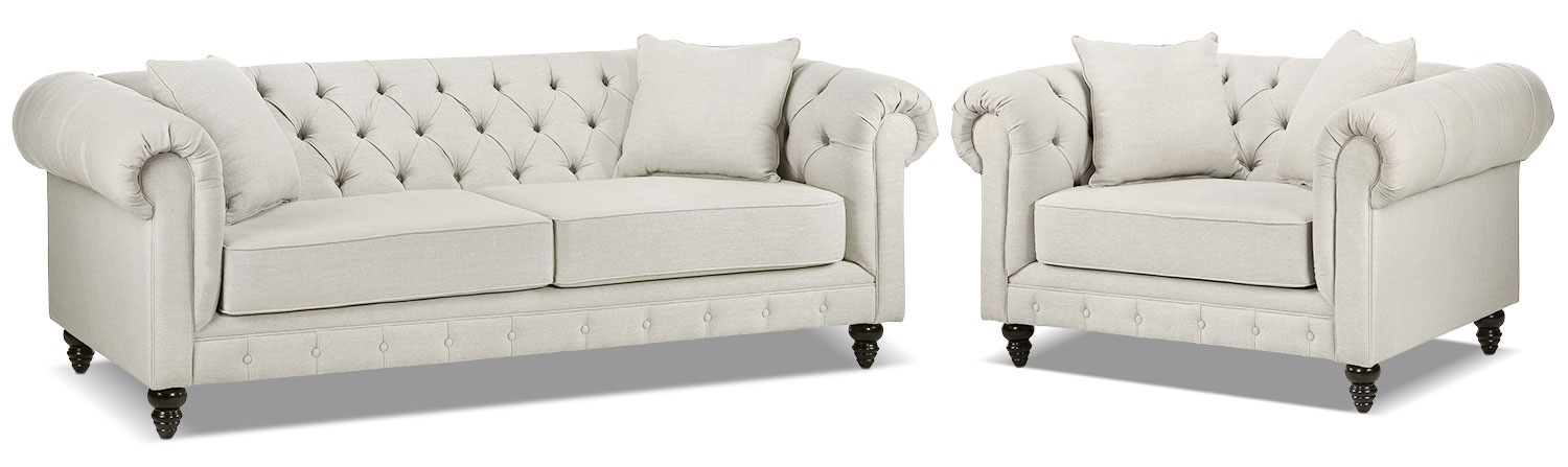 Nubia Sofa and Chair and a Half Set - Pearl