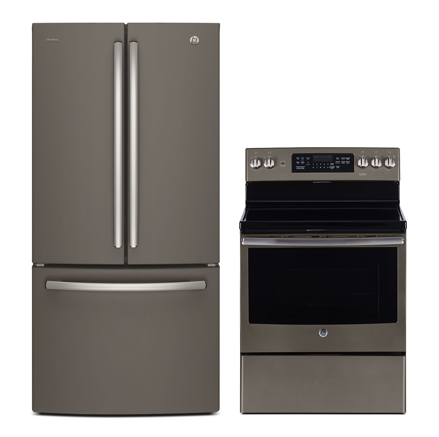 Cooking Products - GE 25 Cu. Ft. French-Door Refrigerator and 5.0 Cu. Ft. Electric Range – Slate