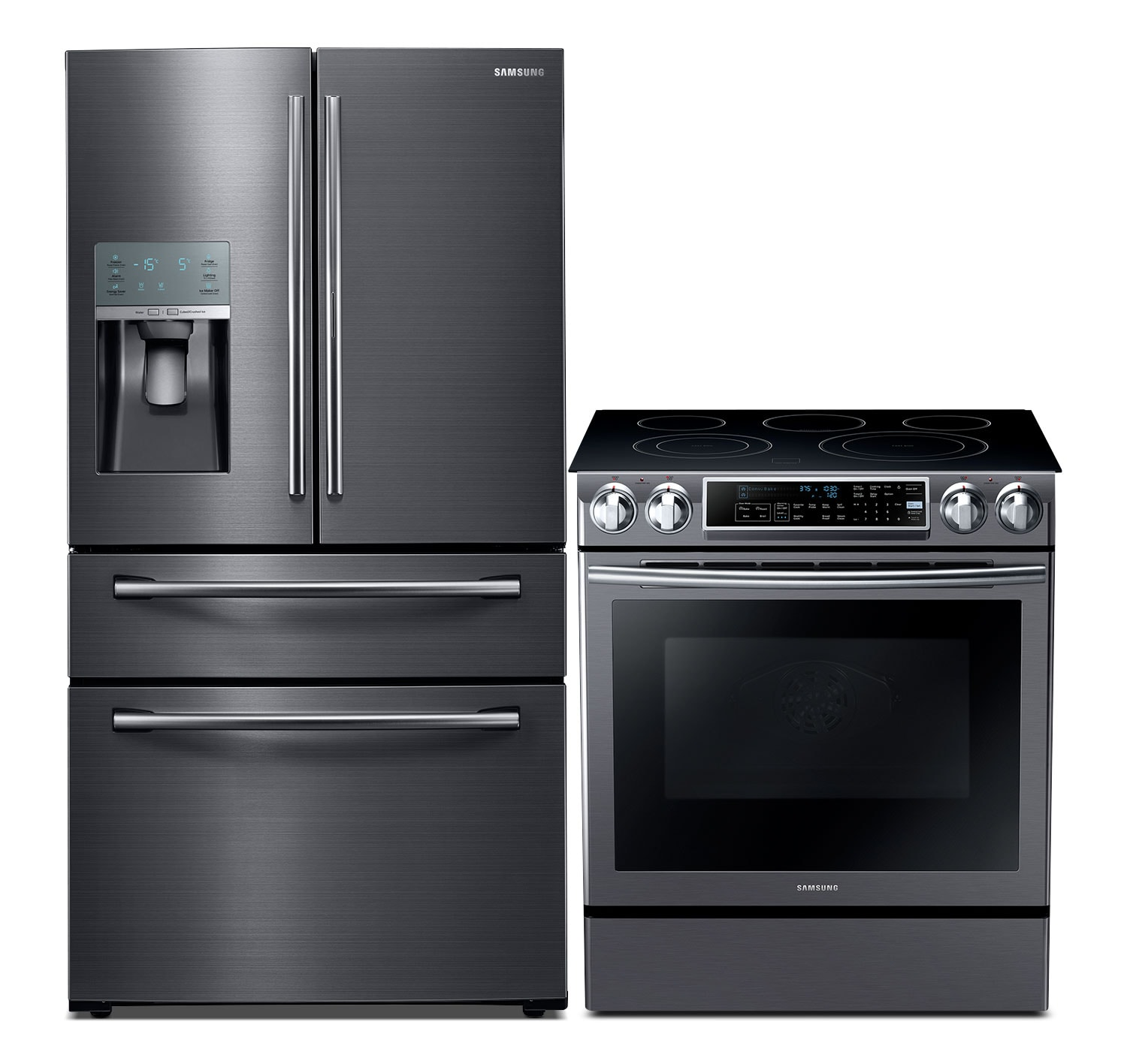 Refrigerators and Freezers - Samsung 27.8 Cu. Ft. Refrigerator and 5.8 Cu. Ft. Electric Range – Black Stainless Steel