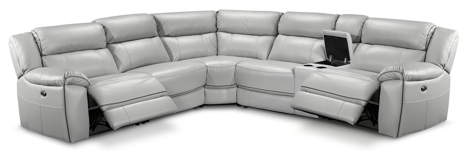 Living Room Furniture - Holton 6-Piece Sectional w/ Two Recliners - Grey