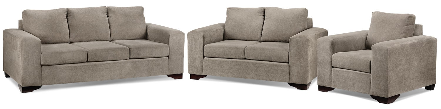 Fava Sofa, Loveseat and Chair Set - Pewter