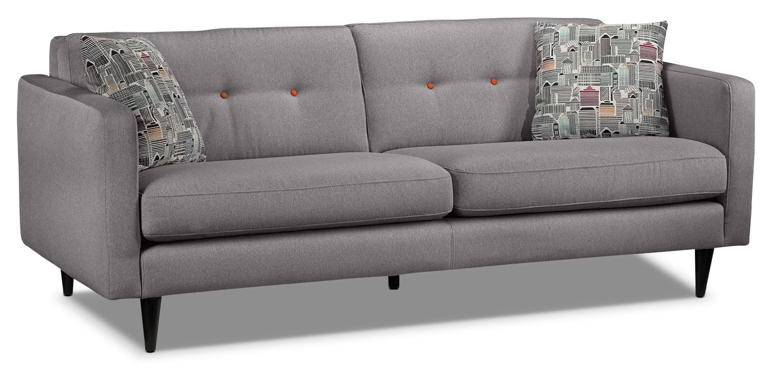 Living Room Furniture - Lassen Sofa - Grey