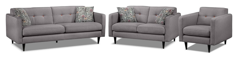 Lassen Sofa, Loveseat and Chair Set - Grey
