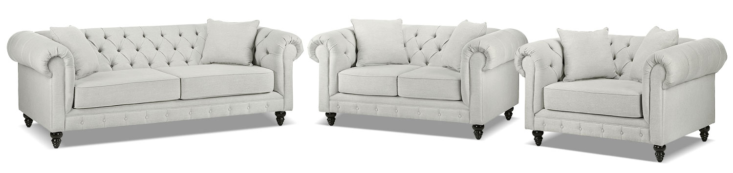 Nubia Sofa, Loveseat and Chair and a Half Set - Platinum