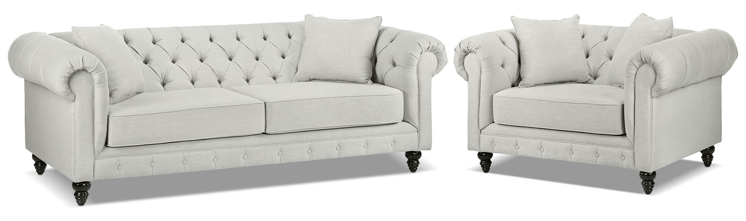 Nubia Sofa and Chair and a Half Set - Platinum