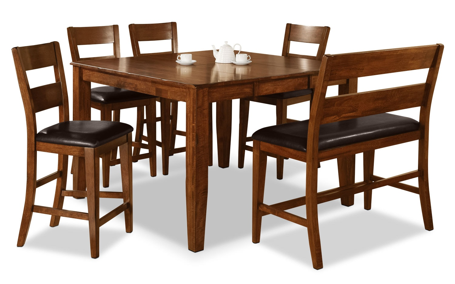 Dining Room Furniture - Dakota Light 6-Piece Pub-Height Dining Package