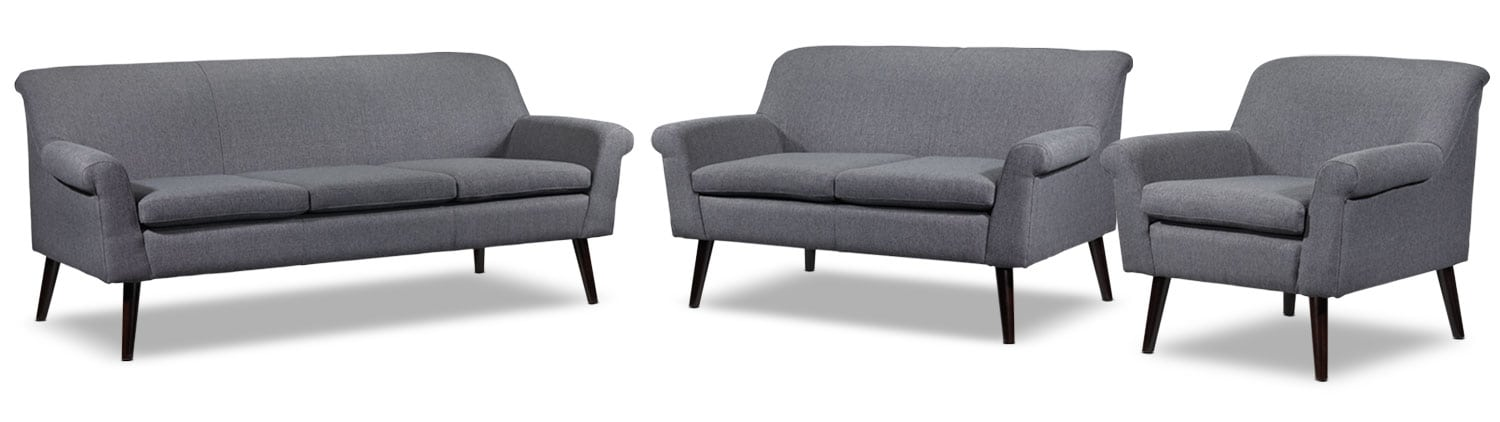 Carey Sofa, Loveseat and Chair Set - Charcoal