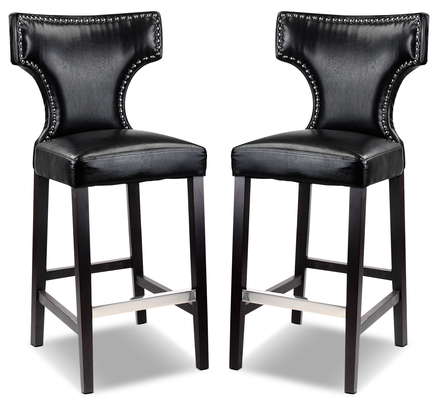 Kings Bar Stool with Metal Studs, Set of 2 – Black