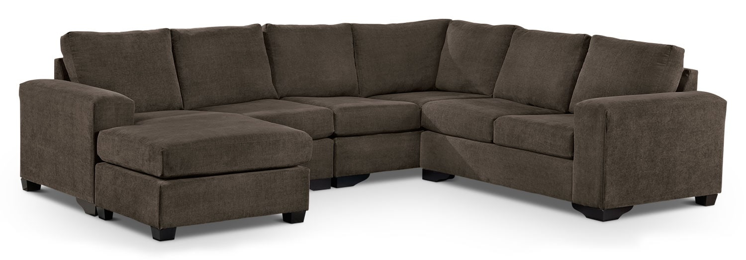 Living Room Furniture - Danielle 3-Piece Sectional with Left-Facing Corner Wedge - Java