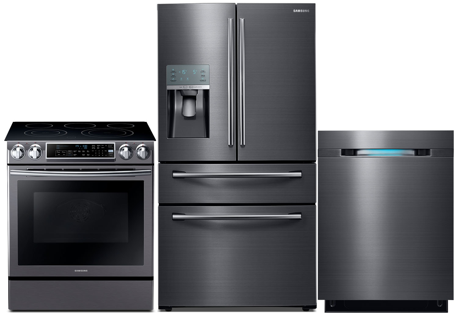 Samsung 27.8 Cu. Ft. Refrigerator, 5.8 Cu. Ft. Range and Dishwasher – Black Stainless Steel