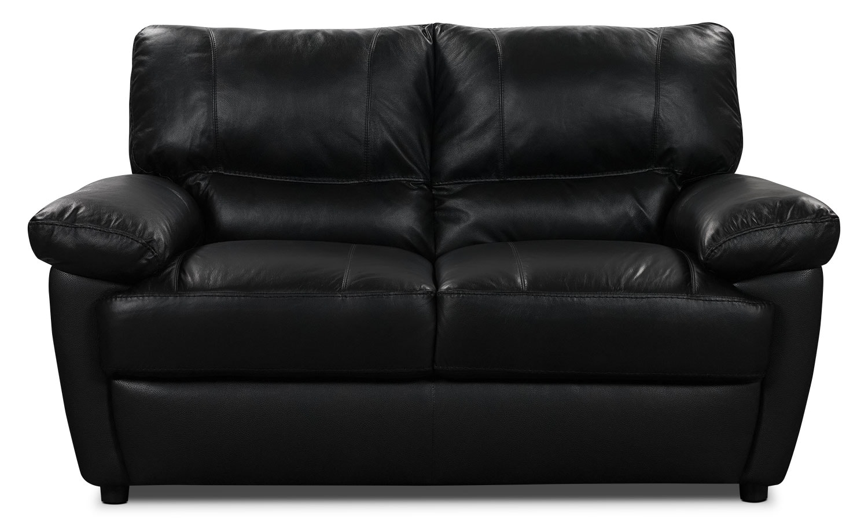 Living Room Furniture - Tess Genuine Leather Loveseat – Black