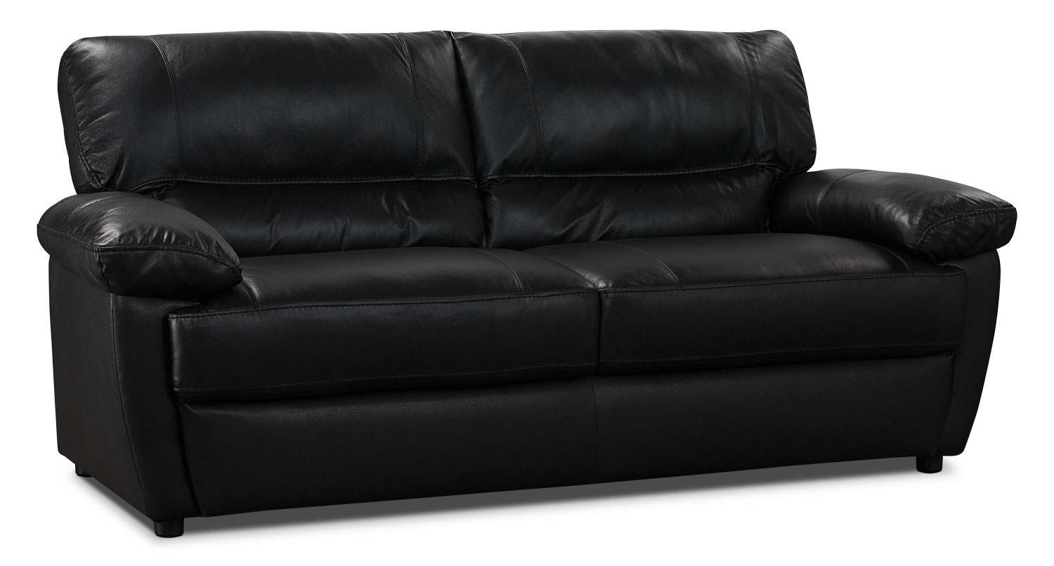 Tess genuine leather sofa black the brick for Leather furniture