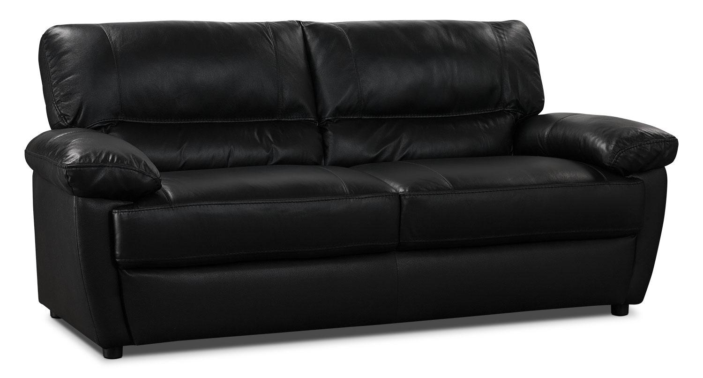 Tess genuine leather sofa black the brick for Leather sofa