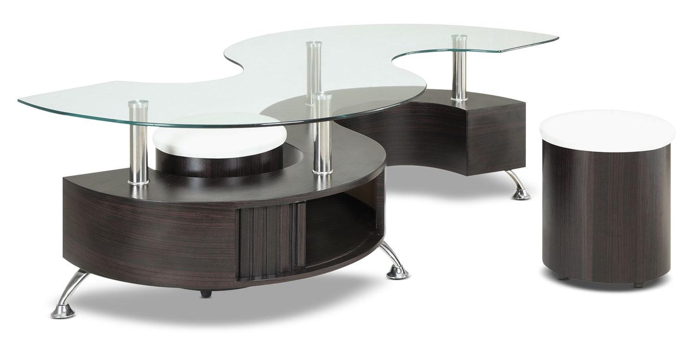 Décoratif et Occasionnel - Table à café Seradala avec deux poufs