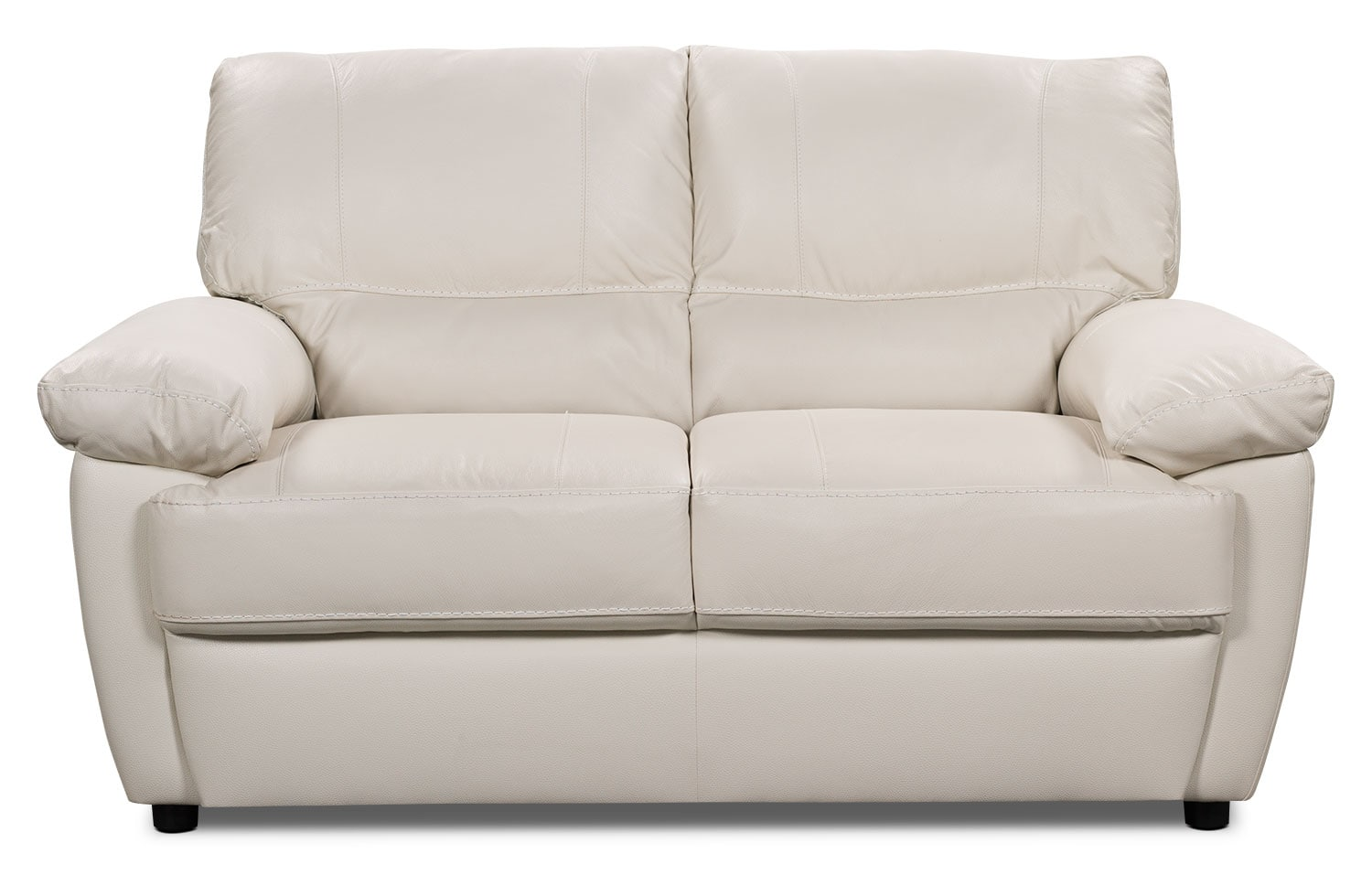Living Room Furniture - Tess Genuine Leather Loveseat – White