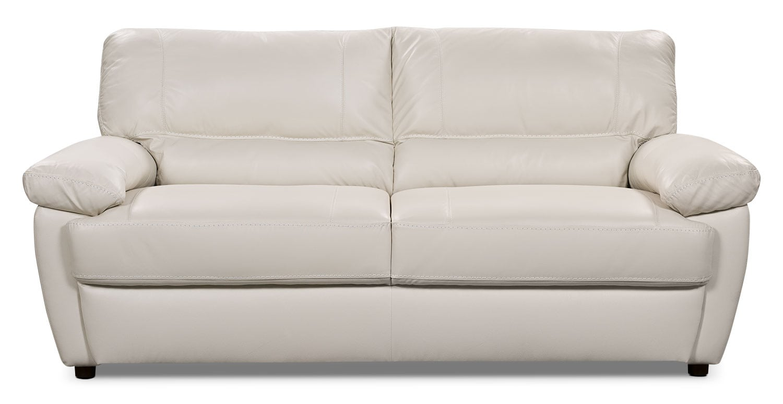 Living Room Furniture - Tess Genuine Leather Sofa – White