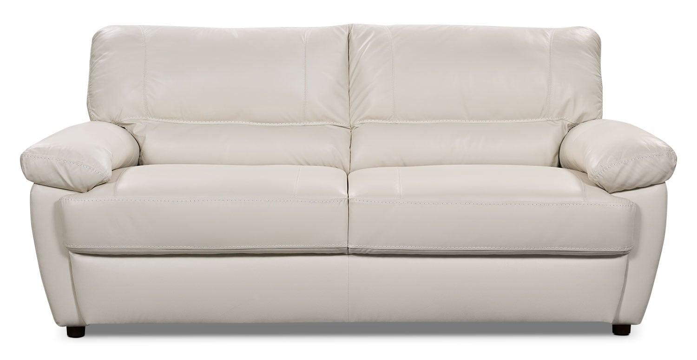 tess genuine leather sofa u2013 white