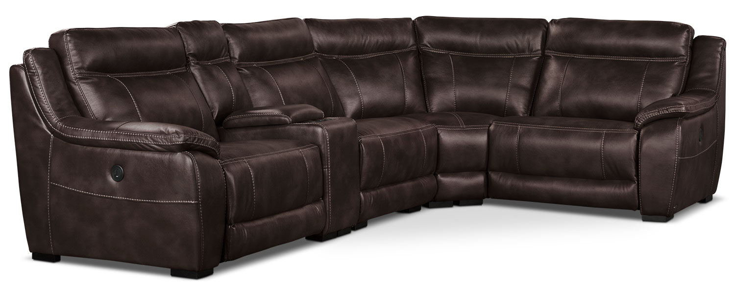 Living Room Furniture - Novo Leather-Look Fabric 5-Piece Power Reclining Sectional – Brown