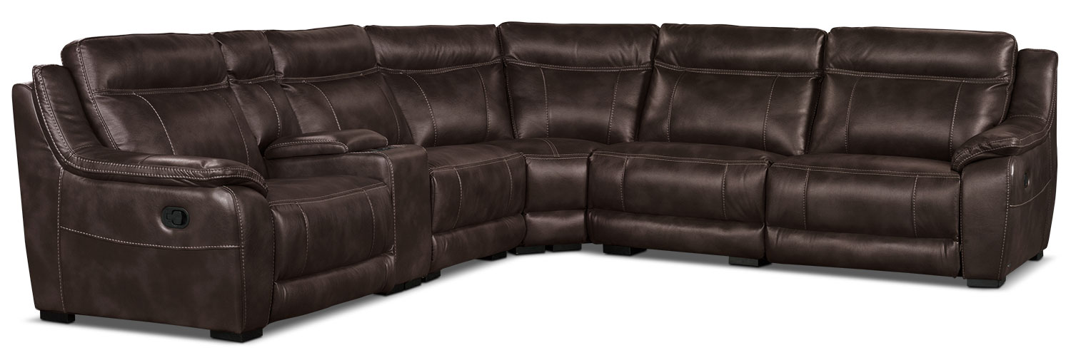 Living Room Furniture - Novo Leather-Look Fabric 6-Piece Reclining Sectional – Brown