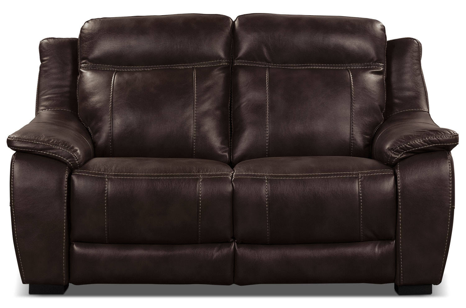 Living Room Furniture - Novo Leather-Look Fabric Loveseat – Brown