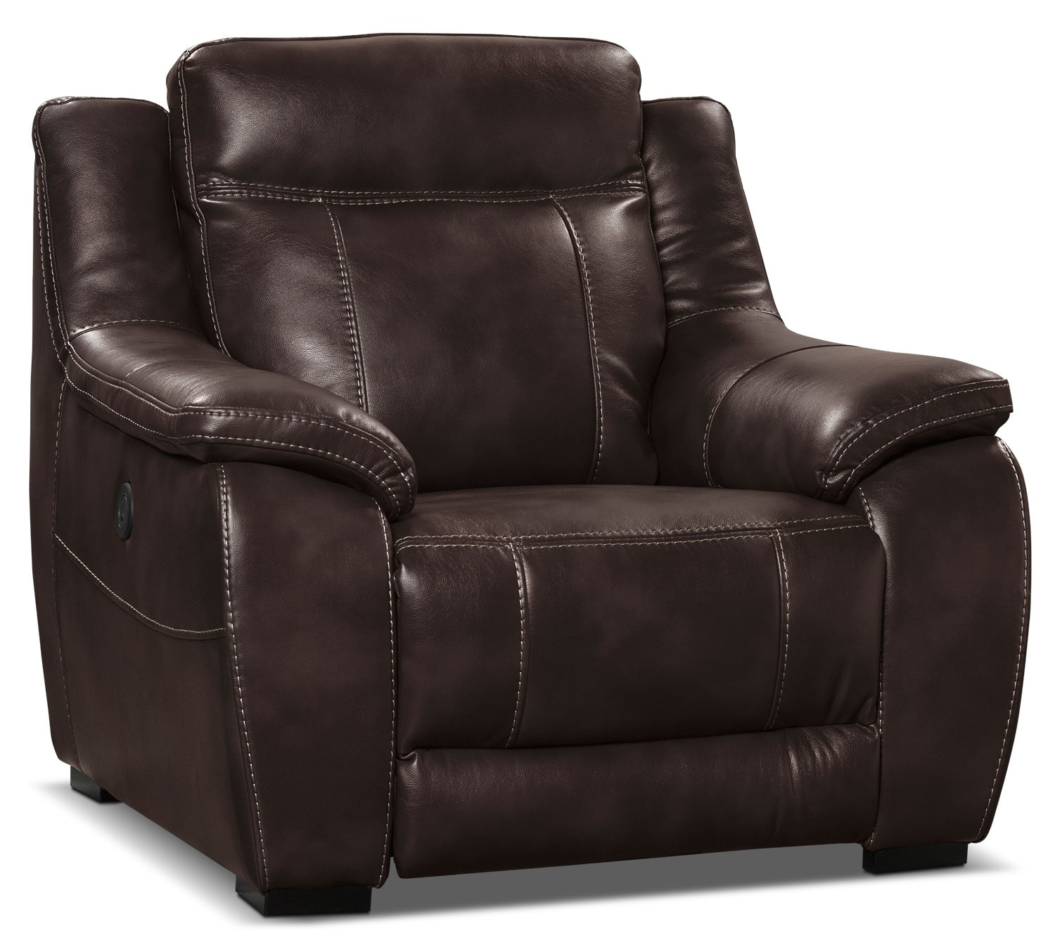 Living Room Furniture - Novo Leather-Look Fabric Power Reclining Chair – Brown