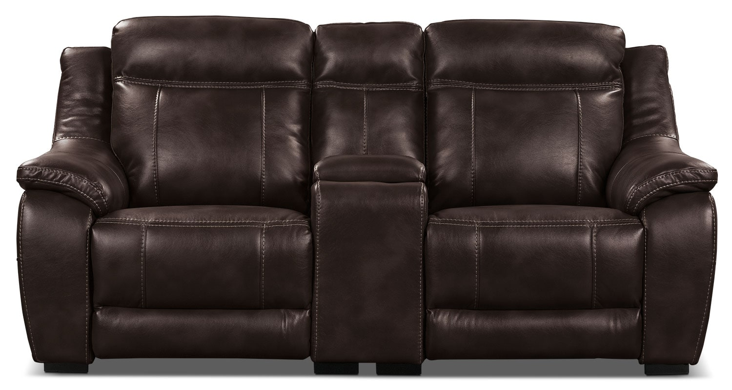 Living Room Furniture - Novo Leather-Look Fabric Power Reclining Loveseat – Brown