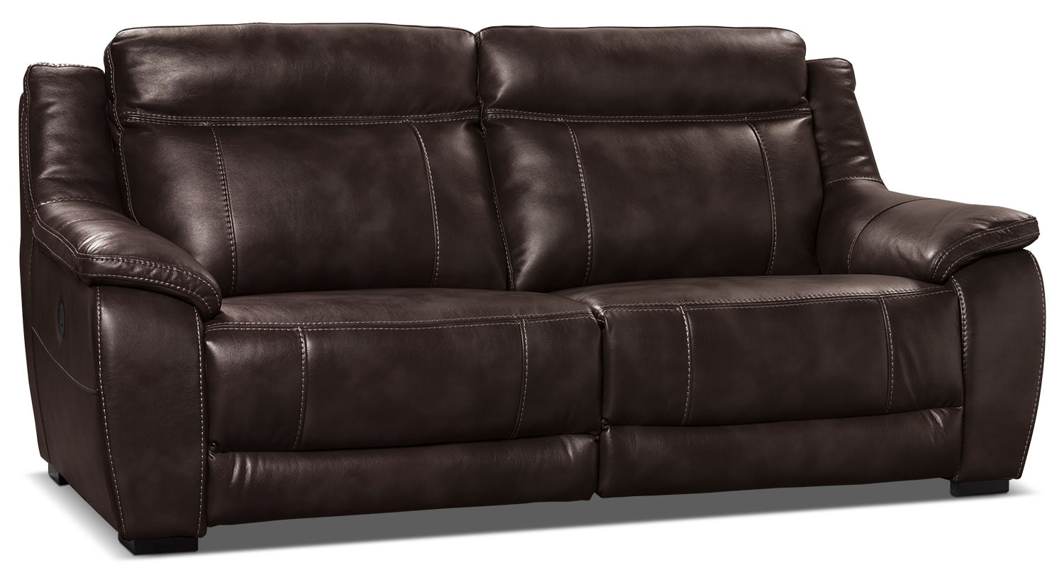 Novo Leather Look Fabric Power Reclining Sofa Brown