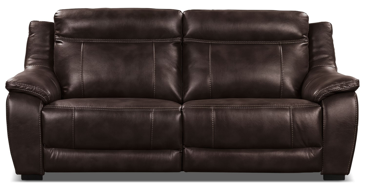 Living Room Furniture - Novo Leather-Look Fabric Power Reclining Sofa – Brown
