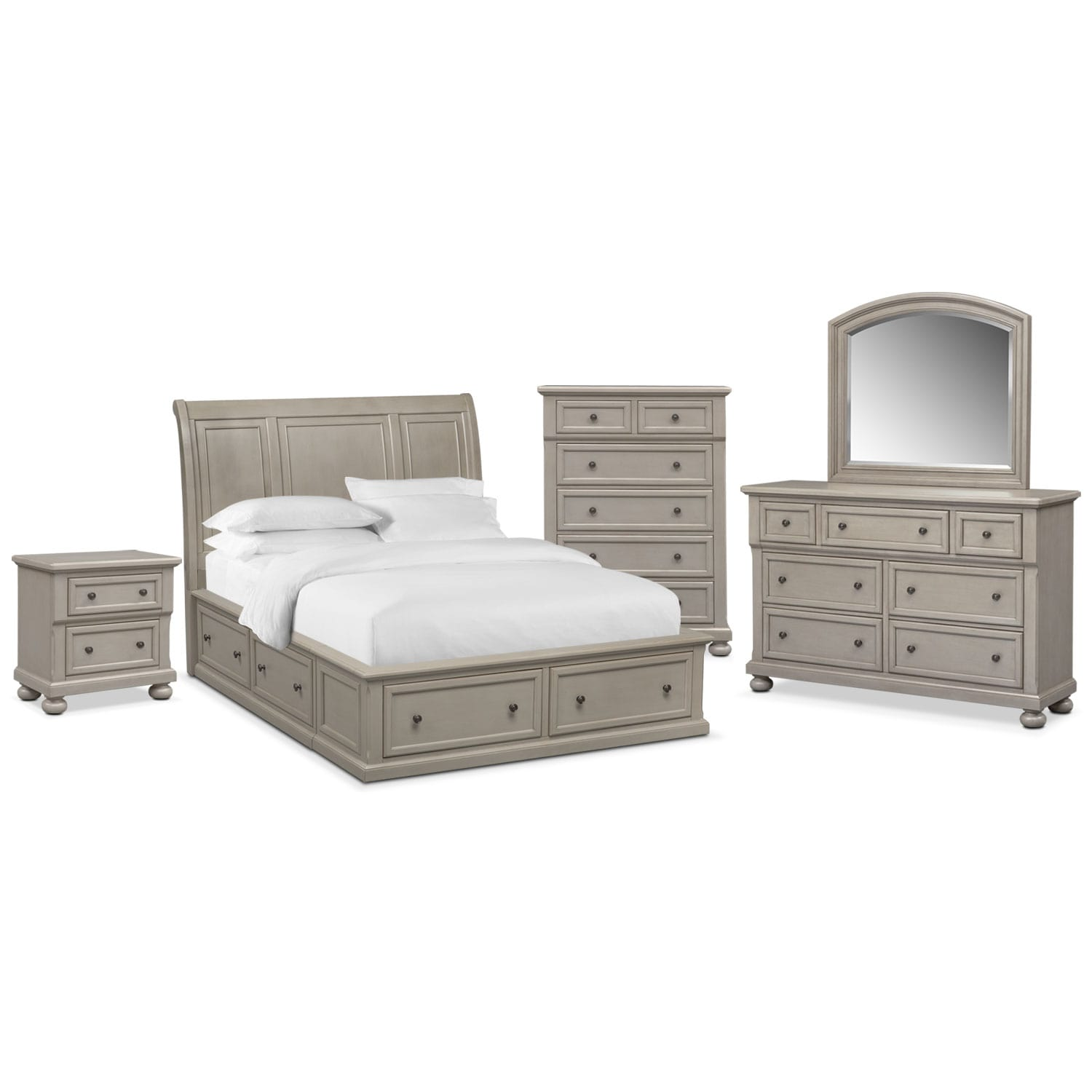 Hanover queen 7 piece storage bedroom set gray value for Gray bedroom furniture sets