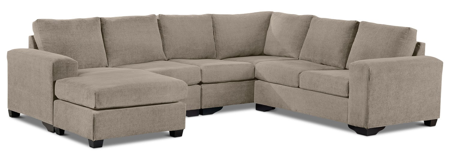 Living Room Furniture - Danielle 3-Piece Sectional with Left-Facing Corner Wedge - Pewter