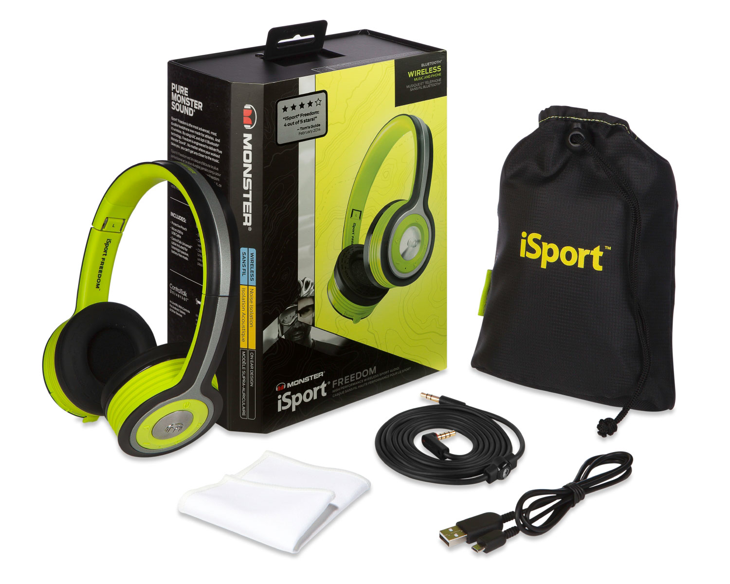 Sound Systems - iSport Freedom Wireless Bluetooth On-Ear Sport Headphones - Green