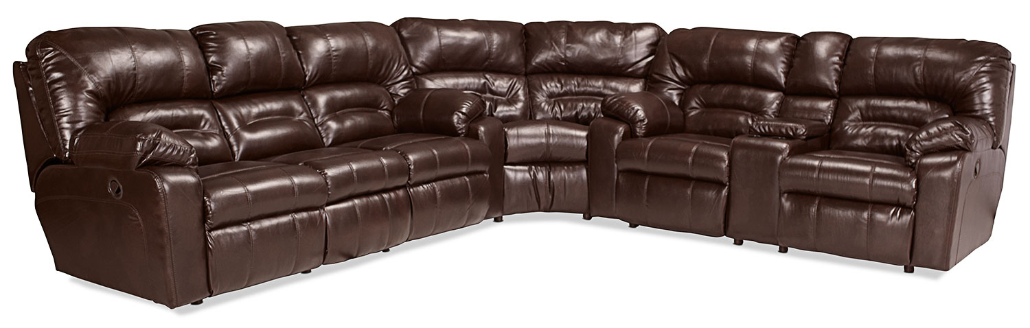Living Room Furniture - Unwind 3-Piece Reclining Sectional - Java