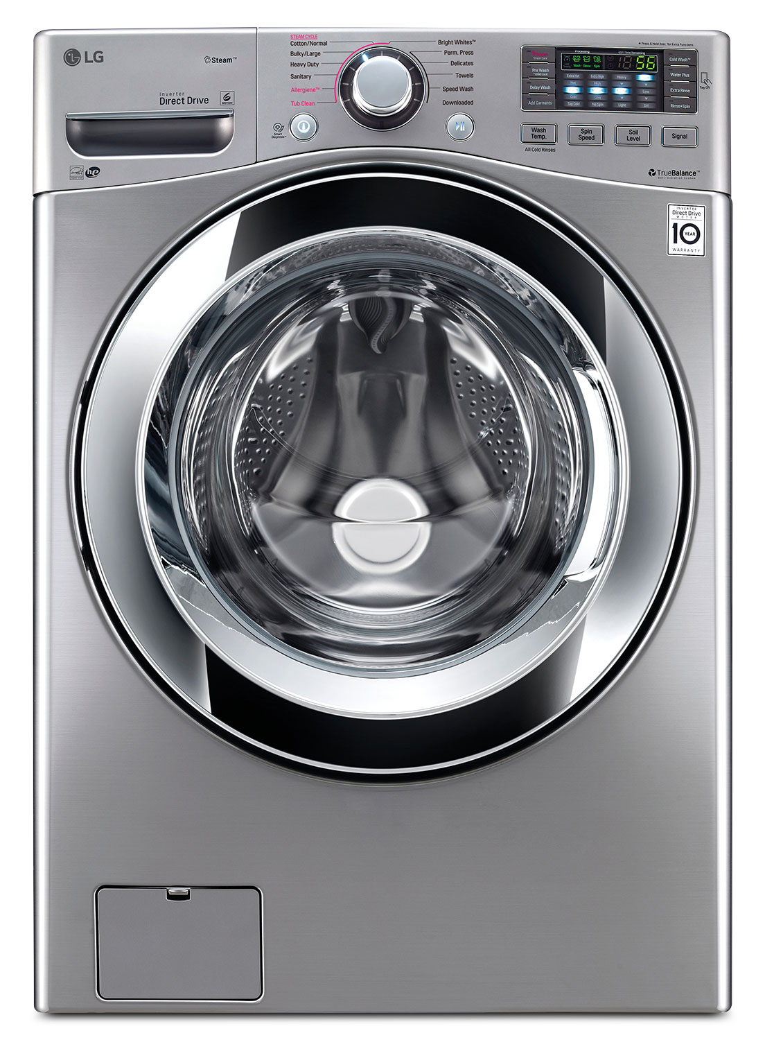 Washers and Dryers - LG Graphite Steel Front-Load Washer (5.2 Cu. Ft. IEC) - WM3670HVA