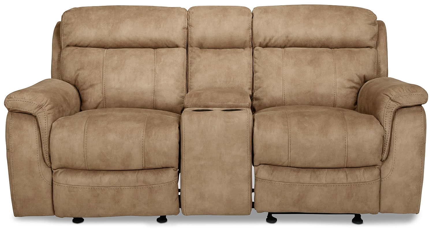Living Room Furniture - Arturo Glider Reclining Loveseat with Console - Brown
