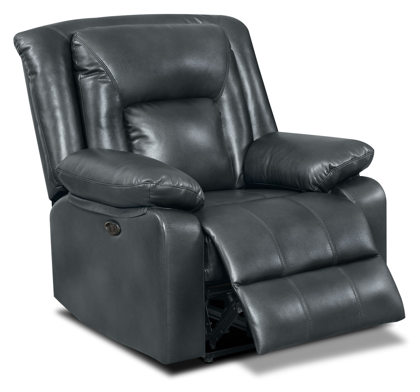 Living Room Furniture - Blane Leather-Like Power Reclining Chair – Graphite