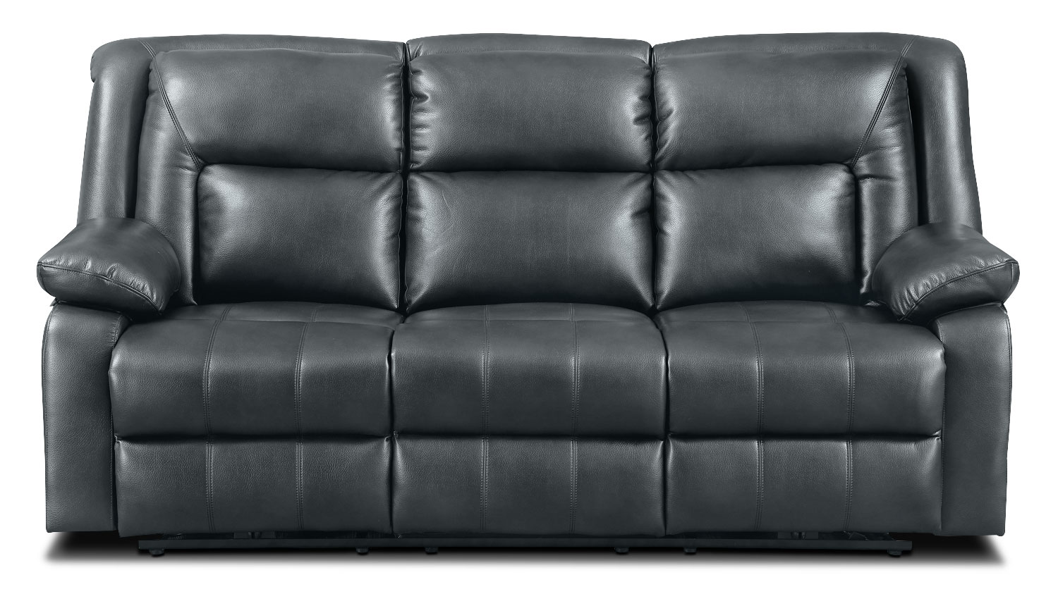 Living Room Furniture - Blane Leather-Like Power Reclining Sofa – Graphite