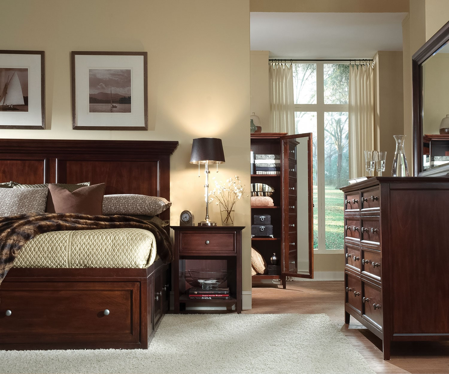 Ellsworth 4-Piece Queen Storage Bedroom Set - Cherry