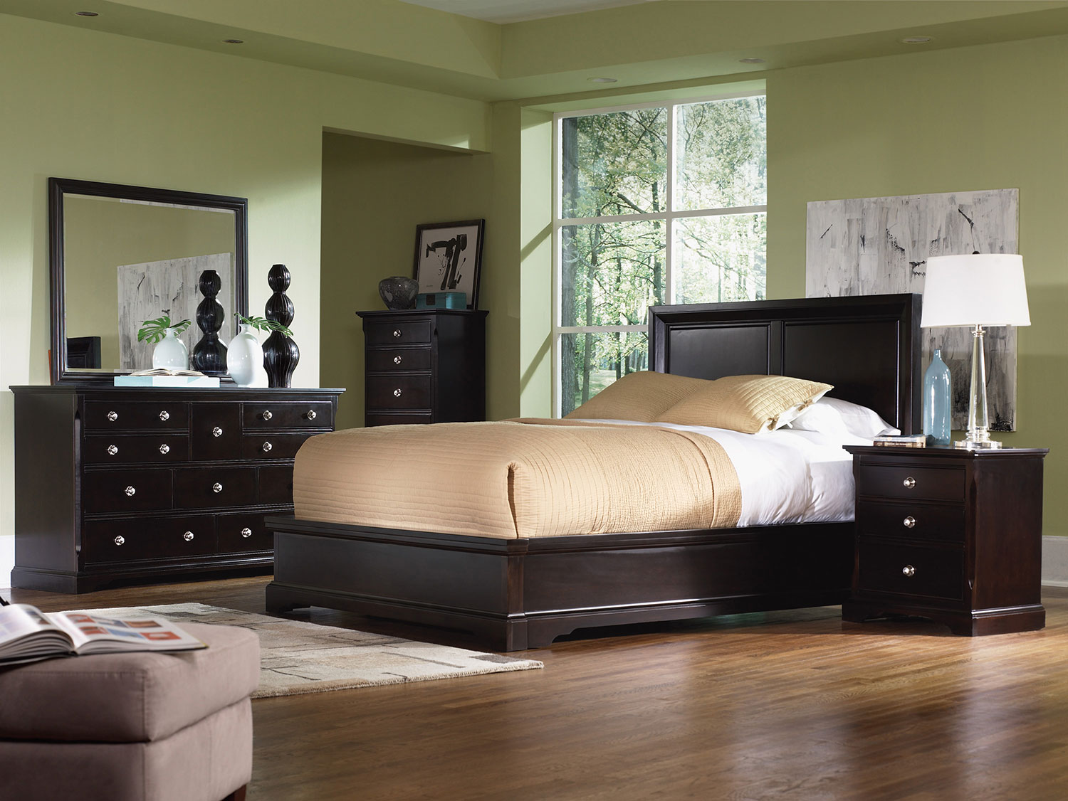 Georgetown 4-Piece King Bedroom Set - Dark Merlot