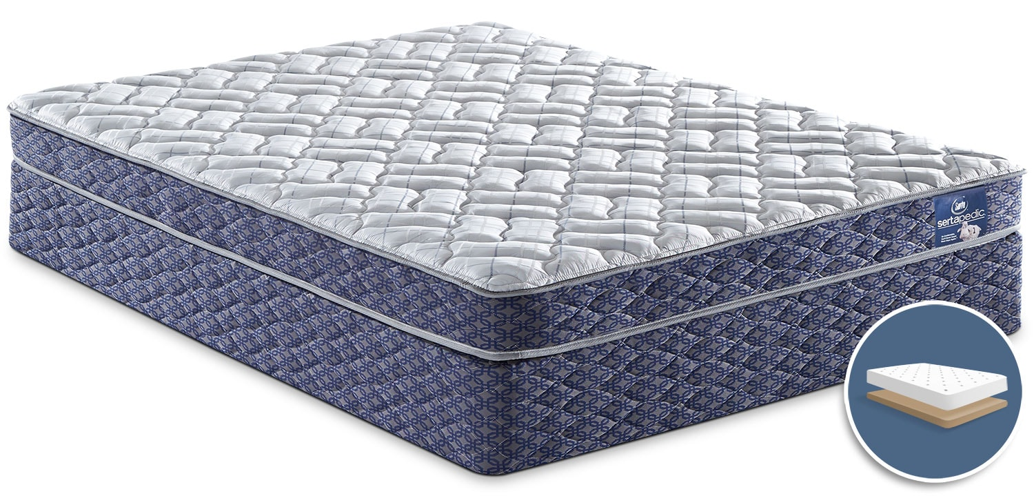 Mattresses and Bedding - Sertapedic® Tassel Tight-Top Low-Profile Full Mattress Set