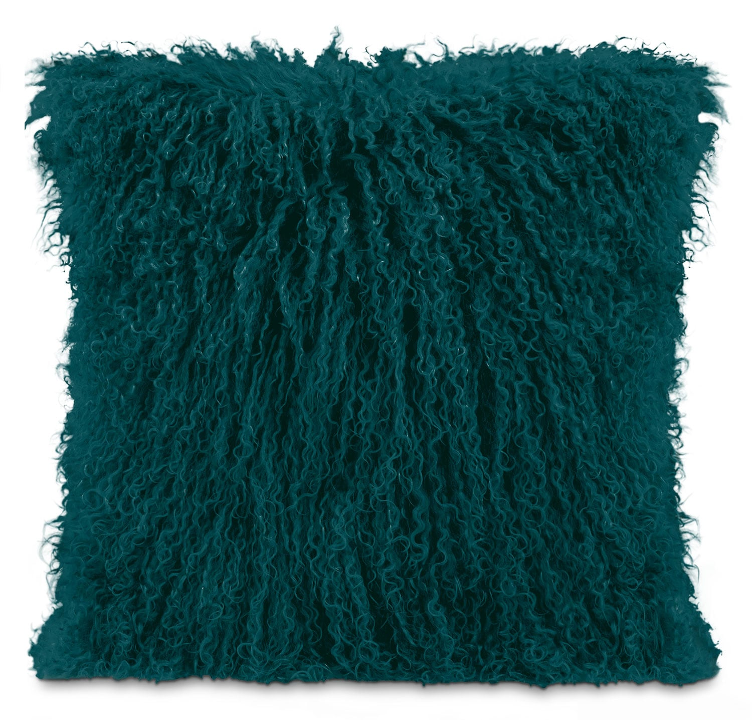 Mongolian Sheepskin Accent Pillow – Teal
