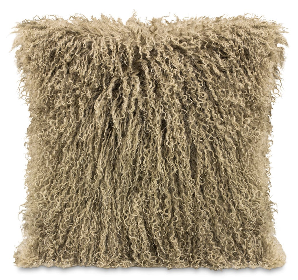 Mongolian Sheepskin Accent Pillow – Beige