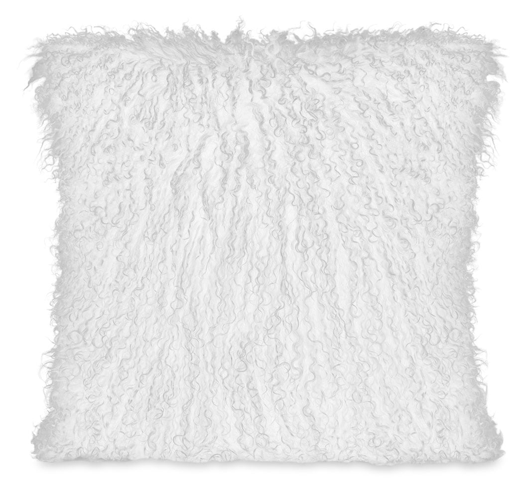 Accent and Occasional Furniture - Mongolian Sheepskin Accent Pillow – White