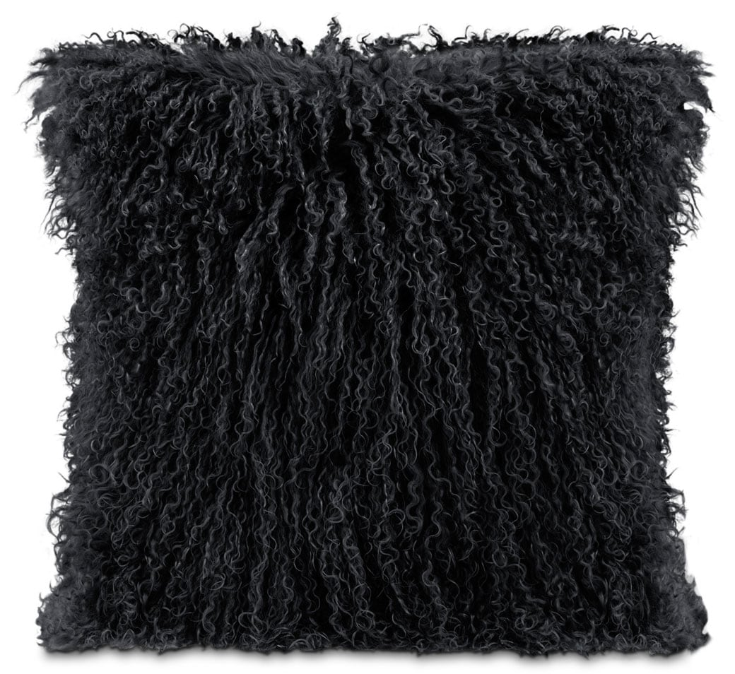 Accent and Occasional Furniture - Mongolian Sheepskin Accent Pillow – Black